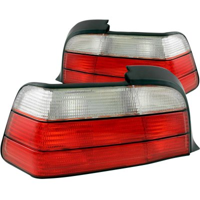 BMW 3 Series Coupe 1992-1998 Red and Clear Euro Tail Lights