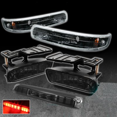 Chevy Silverado 1999-2002 Smoked LED Third Brake Light and Bumper Lights with Fog Lights