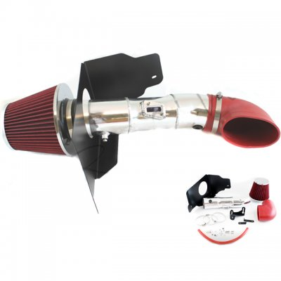 Ford Mustang V8 2005-2009 Polished Cold Air Intake with Red Air Filter
