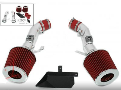Infiniti G37 2008-2013  Polished Cold Air Intake with Red Air Filter