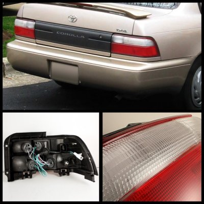 toyota corolla 1993 1997 red and clear jdm tail lights. Black Bedroom Furniture Sets. Home Design Ideas