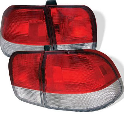Honda Civic Sedan 1996-1998 Red and Clear JDM Tail Lights