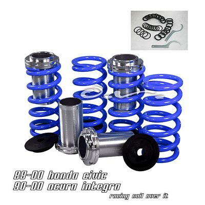 Auto Racing Blue Sports Pedals on Honda Civic 1988 2000 Blue Coilovers Lowering Springs Kit