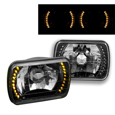 Buick Regal 1978-1980 Amber LED Black Chrome Sealed Beam Headlight Conversion