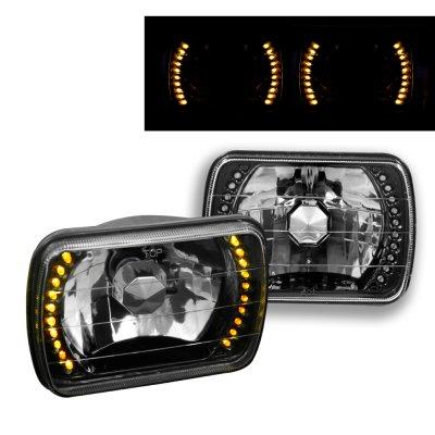1979 Ford Bronco Amber LED Black Sealed Beam Headlight Conversion
