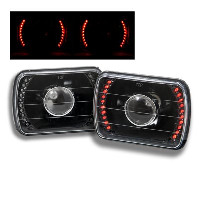 Jeep Wrangler 1987-1995 Red LED Black Sealed Beam Projector Headlight Conversion