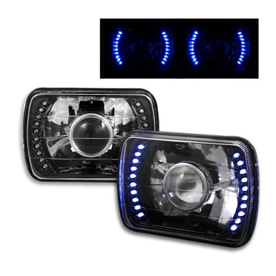 1982 Dodge Omni Blue LED Black Chrome Sealed Beam Projector Headlight Conversion