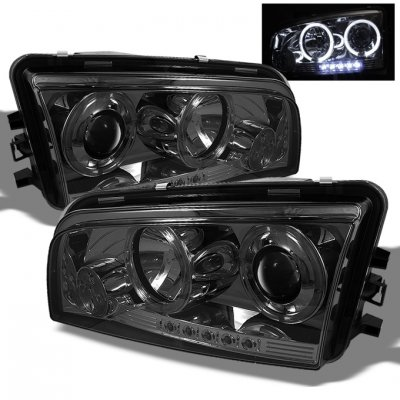 2006-2008 DODGE CHARGER LED DUAL HALO BLACK PROJECTOR HEADLIGHTS