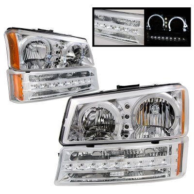Chevy Avalanche 2003-2006 Clear Halo Headlights and LED Bumper Lights