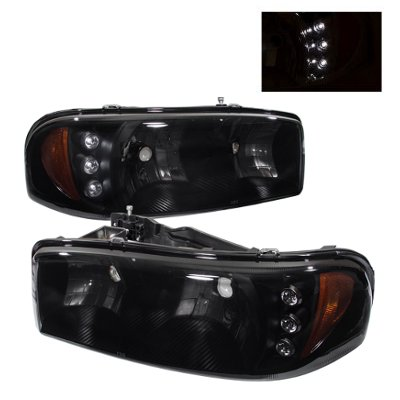 GMC Sierra 2500 1999-2004 Black Smoked Headlights LED Daytime Running Lights
