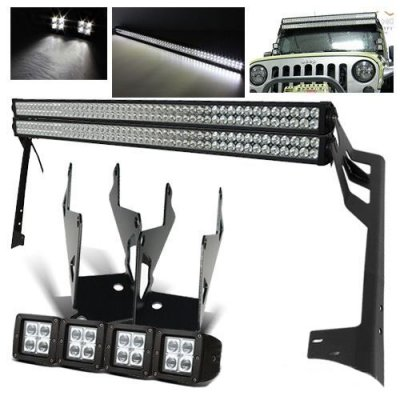 Jeep Wrangler 2007-2016 Dual LED Light Bar and Spot Beam LED Windshield Lights with Mounts