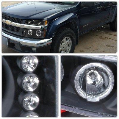 Chevy Colorado 2004 2017 Black Halo Projector Headlights And Per Lights