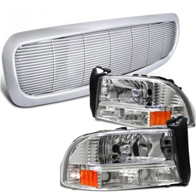 Dodge Durango 1998-2003 Chrome Front Grill and Headlights Set