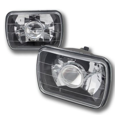 Dodge Ram 250 1981-1993 Black Chrome Sealed Beam Projector Headlight Conversion