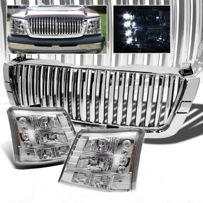 Chevy Silverado 2500HD 2003-2004 Chrome Vertical Grille and Headlight Conversion Kit