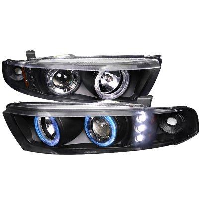 Mitsubishi Galant 1999-2003 Black Halo Projector Headlights with Integrated LED