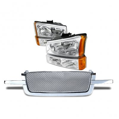 Chevy Silverado 1500 2003-2005 Chrome Mesh Grille and Headlights Set
