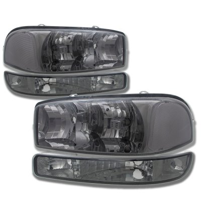 GMC Sierra 1999-2006 Smoked Clear Headlights and Bumper Lights