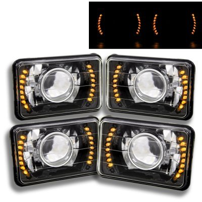 1979 Chevy Caprice Amber LED Black Chrome Sealed Beam Projector Headlight Conversion Low and High Beams