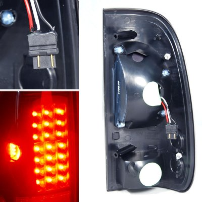 Ford F250 Super Duty 1999-2004 Smoked Halo Projector Headlights and LED Tail Lights
