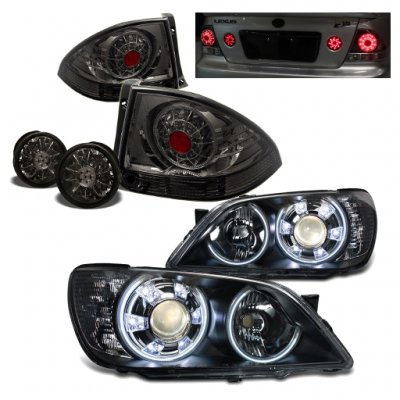 Lexus IS300 2001-2005 Black Halo Projector Headlights and Smoked LED Tail Lights