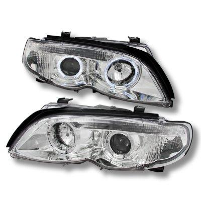 BMW E46 Projector Headlights 2002-2005 3 Series Sedan Dual Halo Chrome