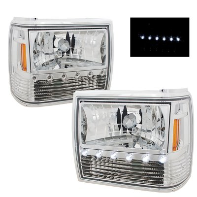 Ford Ranger 1989 1992 Clear Euro Headlights With Led Daytime Running Lights A1012se5102 Topgearautosport