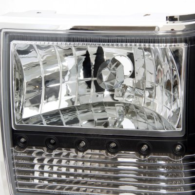 ford bronco ii   black euro headlights  led daytime running lights atz