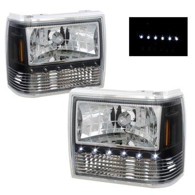 Ford Ranger 1989 1992 Black Euro Headlights With Led Daytime Running Lights