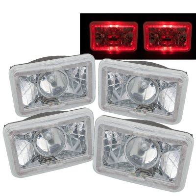 VW Scirocco 1982-1988 Red Halo Sealed Beam Projector Headlight Conversion Low and High Beams
