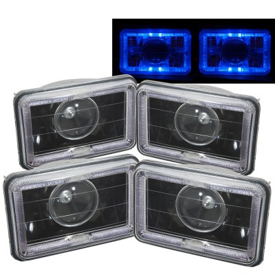 Chevy Camaro 1982-1992 Blue Halo Black Sealed Beam Projector Headlight Conversion Low and High Beams