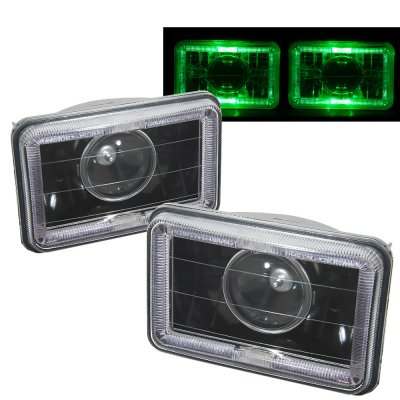 Lincoln Continental 1985-1986 Green Halo Black Sealed Beam Projector Headlight Conversion