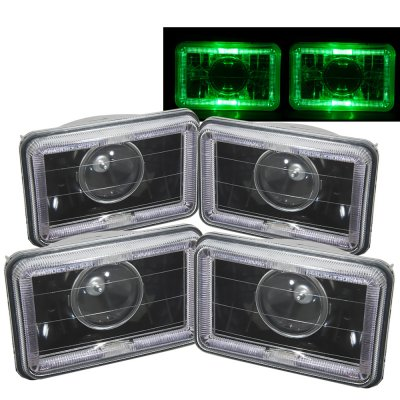 1985 GMC Caballero Green Halo Black Sealed Beam Projector Headlight Conversion Low and High Beams