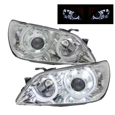 Lexus IS300 2001-2005 Chrome Projector Headlights Dual Halo LED