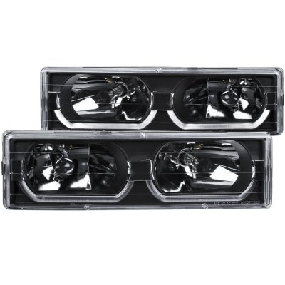 Chevy Silverado 1994-1998 Black Headlights U-shaped LED DRL