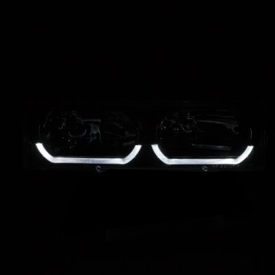 Chevy 1500 Pickup 1988-1998 Clear Headlights U-shaped LED DRL