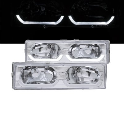 Chevy 2500 Pickup 1988-1998 Clear Headlights U-shaped LED DRL