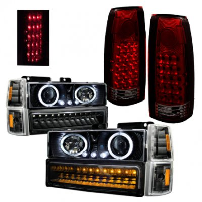 GMC Sierra 2500 1994-2000 Black Halo Headlights LED DRL and Tail Lights LED Red Smoked