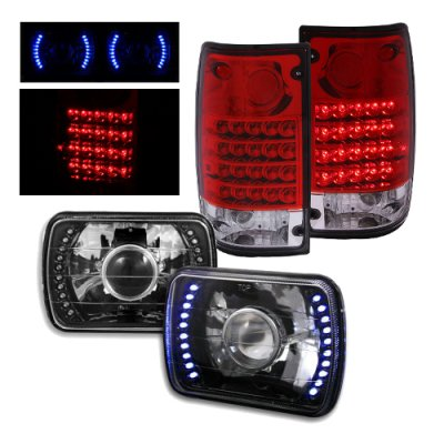 Toyota Pickup 1989-1995 Black Projector Headlights Blue LED and LED Tail Lights