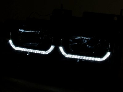 1999 Chevy Tahoe Black Front Grill and LED DRL Headlights Set