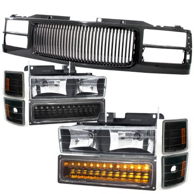 Chevy Tahoe 1995-1999 Black Front Grill and Headlights LED Bumper Lights
