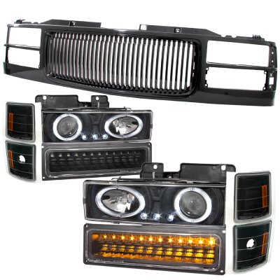 Chevy Tahoe 1995-1999 Black Grill and Halo Projector Headlights LED Bumper Lights