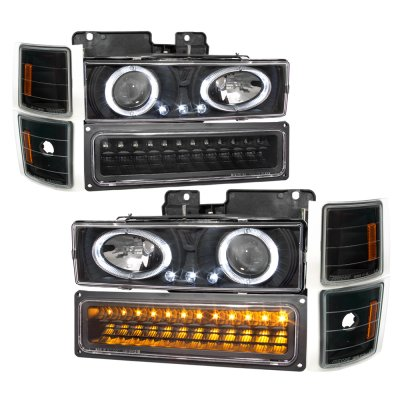 Chevy Tahoe 1995-1999 Black Halo Projector Headlights and LED Bumper Lights