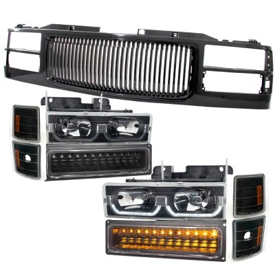 Chevy Silverado 1994-1998 Black Grille and LED DRL Headlights Bumper Lights
