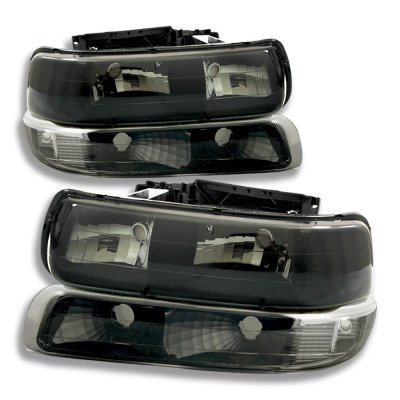 Chevy Silverado 1999-2002 Black Smoked Headlights and Bumper Lights