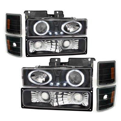 GMC Sierra 2500 1994-2000 Black Halo Headlights and Bumper Lights