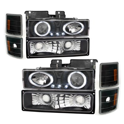 GMC Yukon 1994-1999 Black Halo Headlights and Bumper Lights