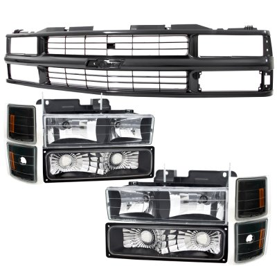 Chevy 1500 Pickup 1994-1998 Black Grille and Euro Headlights Set