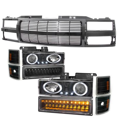 1994 Chevy 1500 Pickup Black Billet Grille and Projector Headlights LED Set