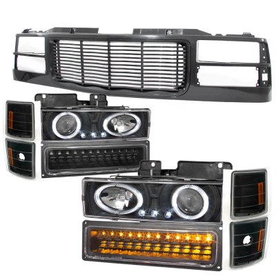 Chevy 1500 Pickup 1994-1998 Black Wave Grille and Projector Headlights LED Set